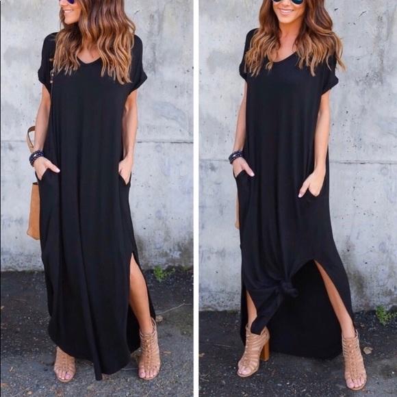 Aluna Levi Dresses & Skirts - Oversized Black Side Split Maxi
